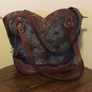 American West Tooled Leather Handbag